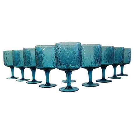 Deep Blue Leaf Design Wine Glasses - S/10
