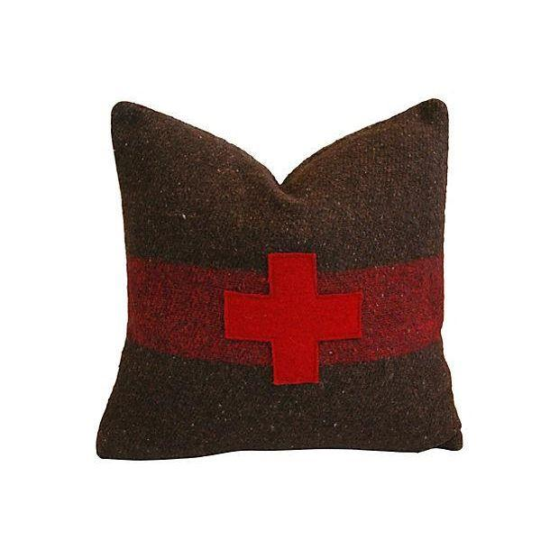 Swiss Appliqué Red Cross Wool Pillow