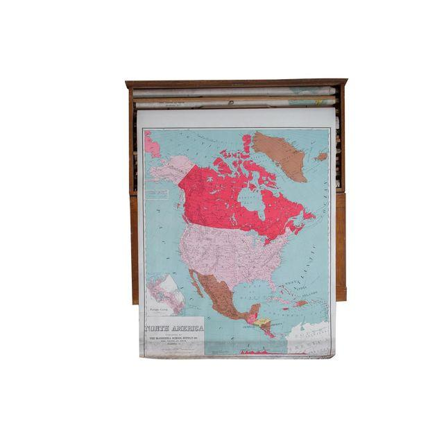 Vintage Pull Down Map North America