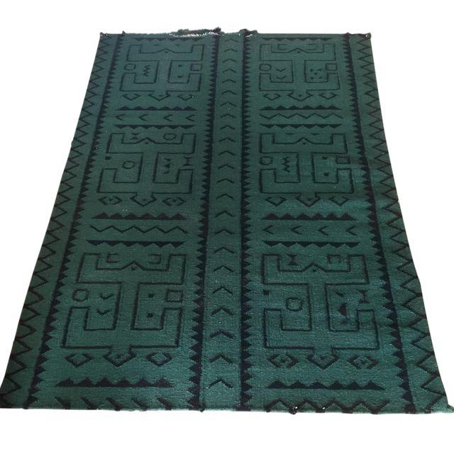 "Green & Black Tribal Flatweave Rug - 3'11"" x 5'7"""