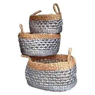 Metallic & Natural Woven Straw Nesting Baskets