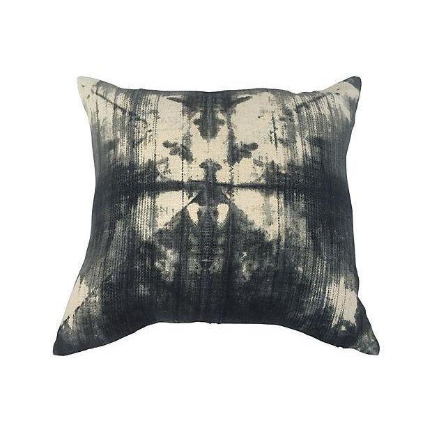 Vintage Gray Tye Dye Mud Cloth Pillow