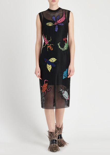 Bug Embroidered Mesh Midi Dress