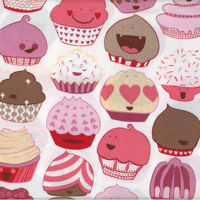CityCraft Alexander Henry Fabric Cupcakes Mocha Pink