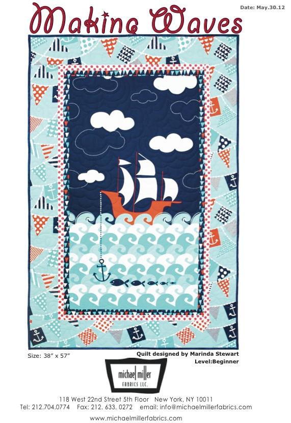 Ahoy Matey Quilt Pattern Michael Miller Fabrics via CityCraft