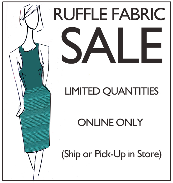 ruffle fabric sale sign