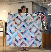 Angela's gorgeous half-square triangle quilt.