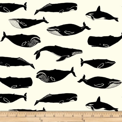 Manufacturer: Birch Fabrics Designer: Jay-Cyn Fabric: Whale Pod Cream Type: Quilting Cotton Width: 44/45