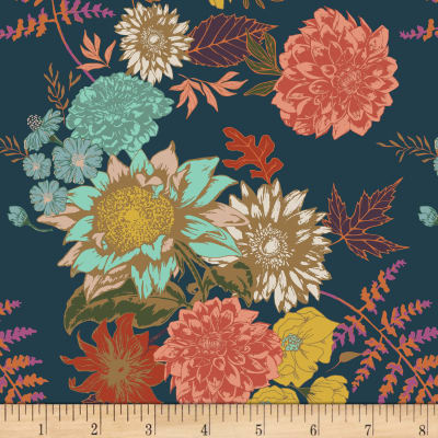 "Manufacturer: Art Gallery Fabric: Knit Jersey Floral Glow Twilight Midnight Blue Width: 57"" Type: Apparel, Cotton/Lycra"