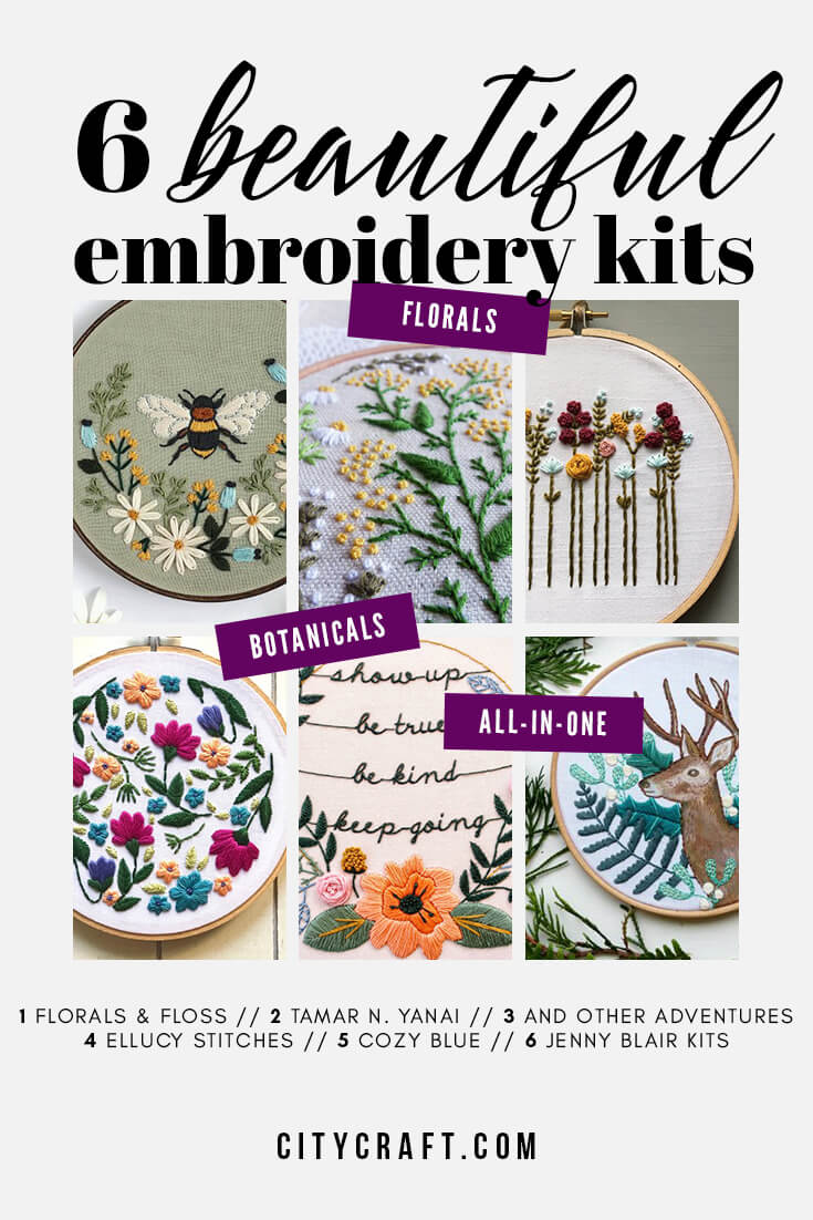 6 Beautiful Hand Embroidery Kits #handembroidery #embroidery #embroiderypattern #embroiderykit #kit #pattern #embroideryinspiration