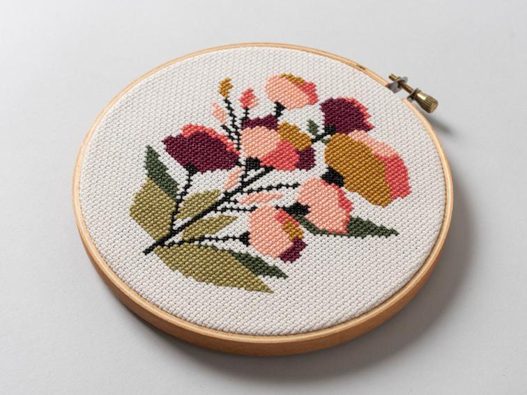 Coral Floral cross stitch kit #crossstitch #crossstitchpattern