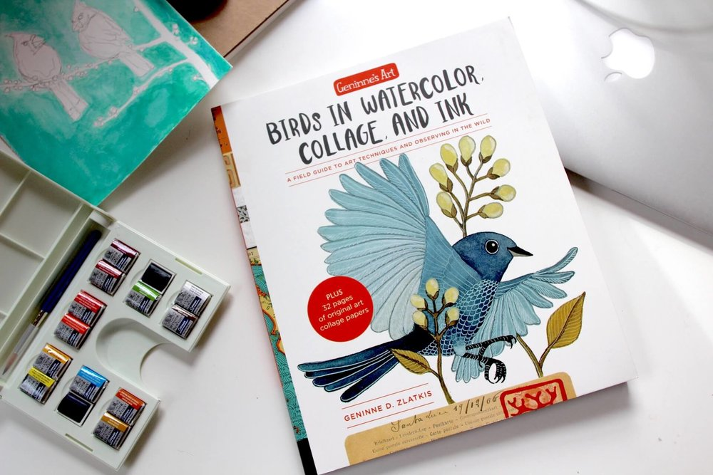 Birds in Watercolor, Collage and Ink by Geninne Zlatikis | Review CityCraft by Callie Works-Leary