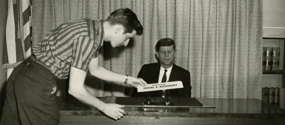 Yes. That is Caroll Spinney working with John F. Kennedy.