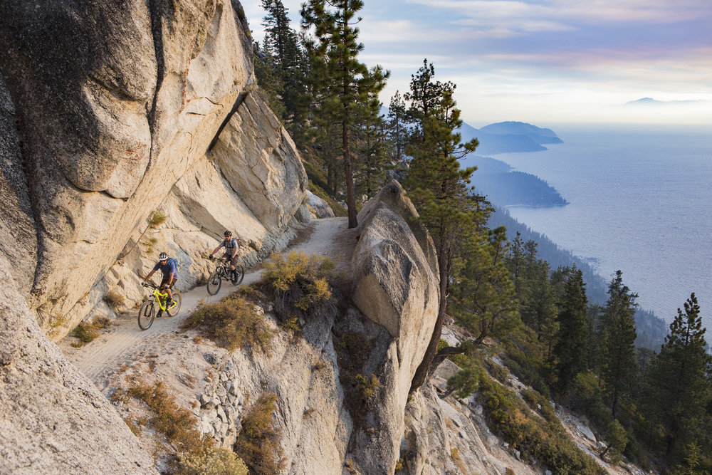 Mountain bike ride along the famous Flume Trail over Lake Tahoe.