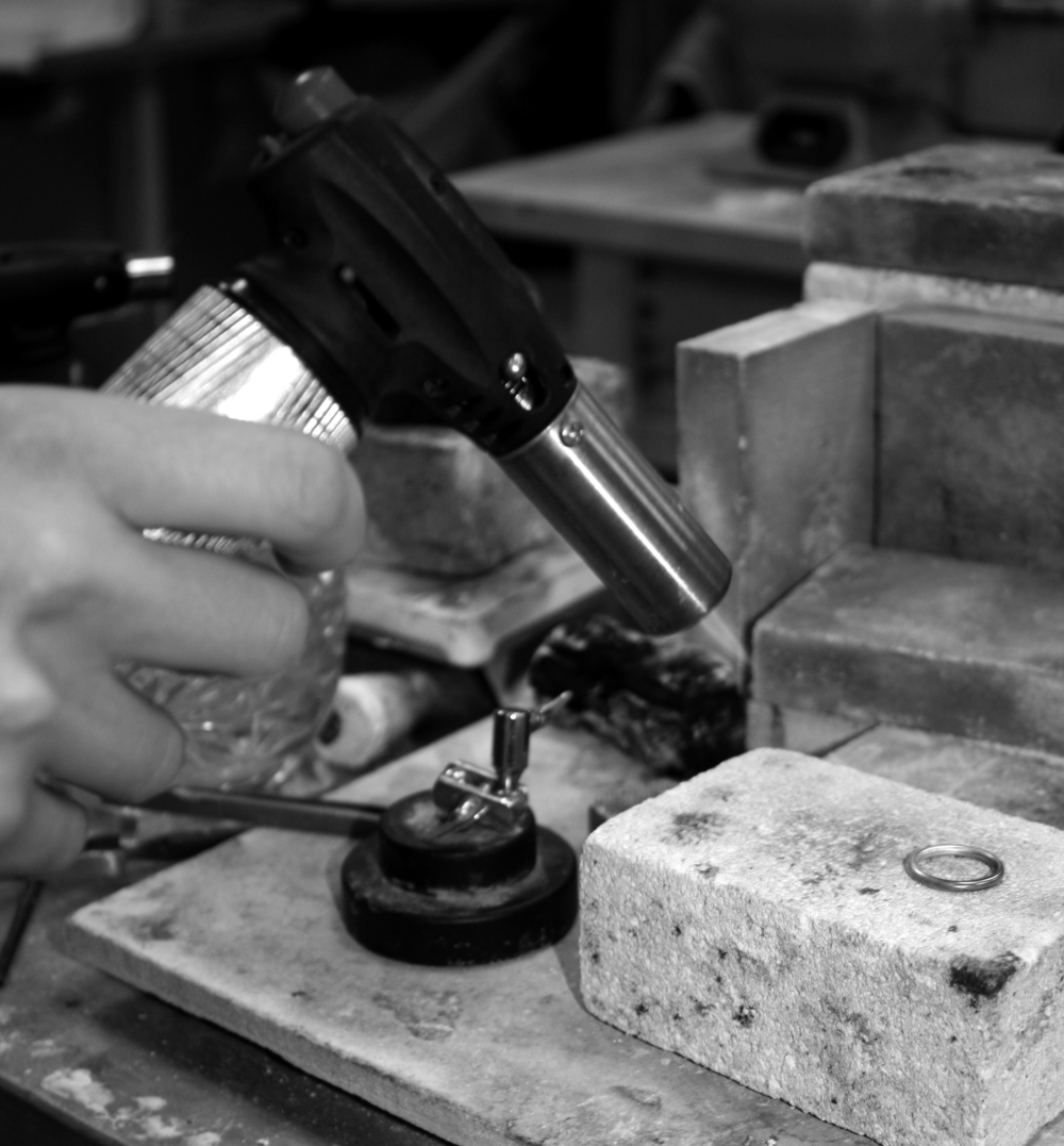 Annealing a ring in order tosoften the silver and make itready for shaping.