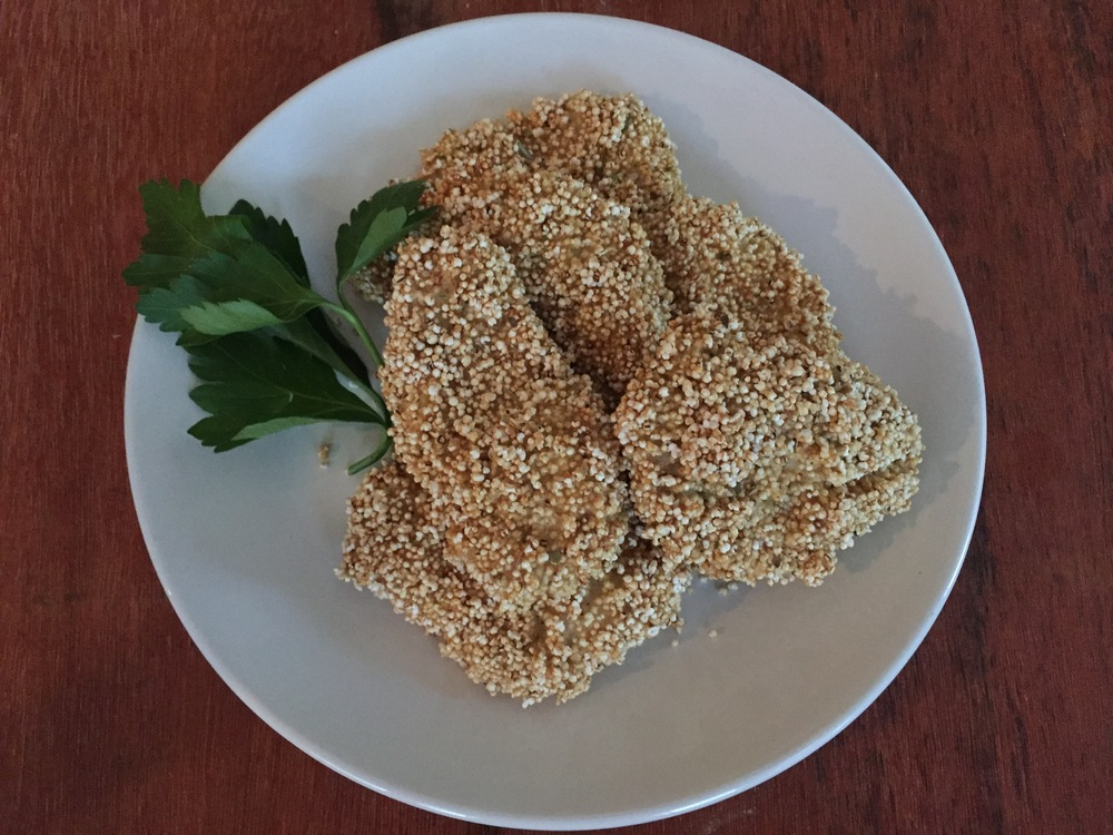 Amaranth-Crusted Chicken Fingers