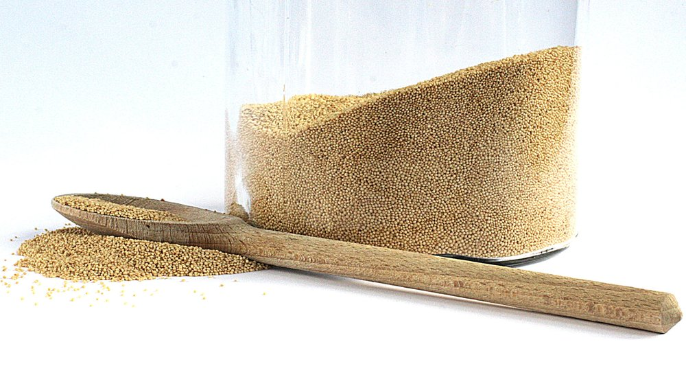 This is amaranth grain. It is used to produce cold-pressed amaranth oil.