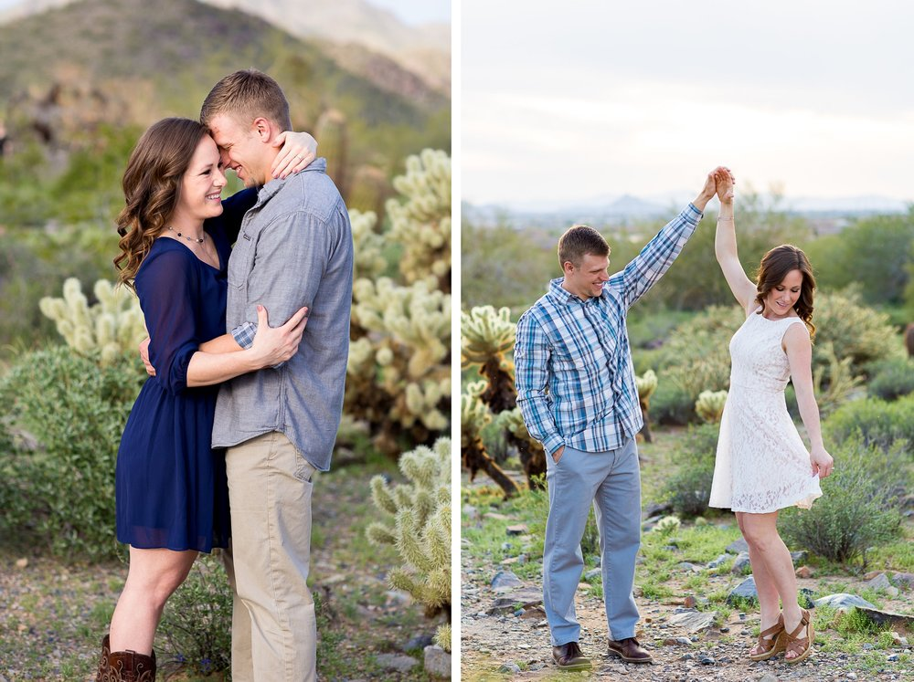 two Erin Evangeline Arizona Desert Engagement Photos