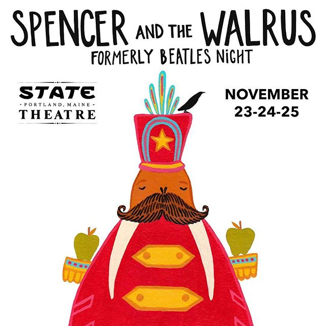 BEATLES NIGHT 2018 // with @spencerandthewalrus // November 23, 24 & 25 // @statetheatreportland // Friday: Red Album ('62-'66) // Saturday: Blue Album ('67-'70) // ticket link in bio // poster by @lizlongillustration  #beatles #thebeatles #music #livemusic #wings #paulmccartney #ringostarr #johnlennon #georgeharrison