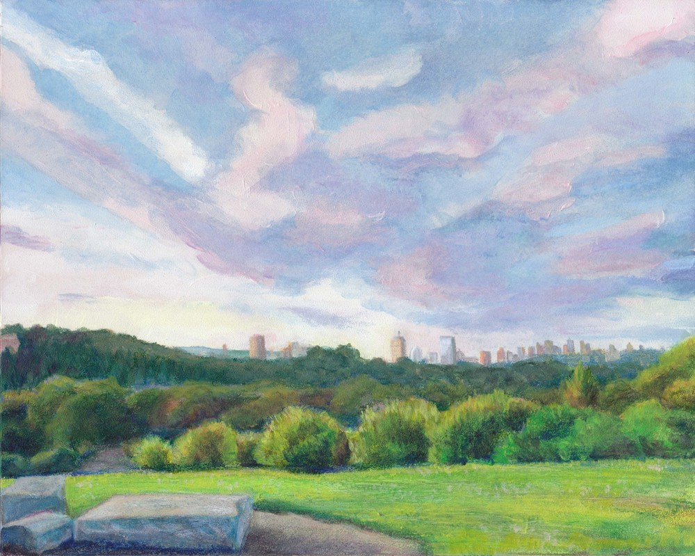 Painting from a picture I took during one of my first runs up Peter's Hill in the Arboretum.