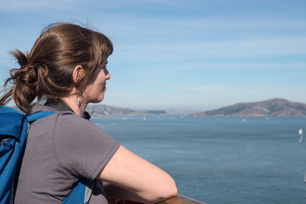 Visiting board member Alison takes in the view on our hike through the Presidio.