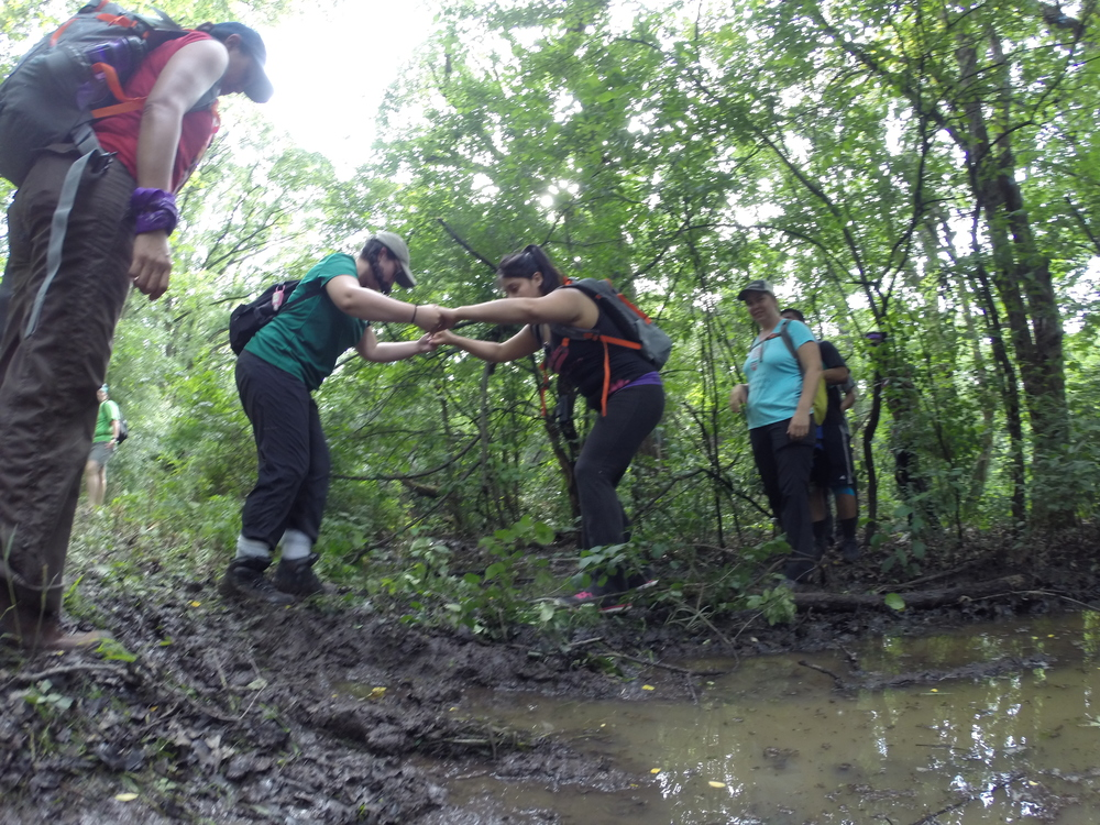 Judy gets a hand at the right time to get us all through the mud.  This group was ready!