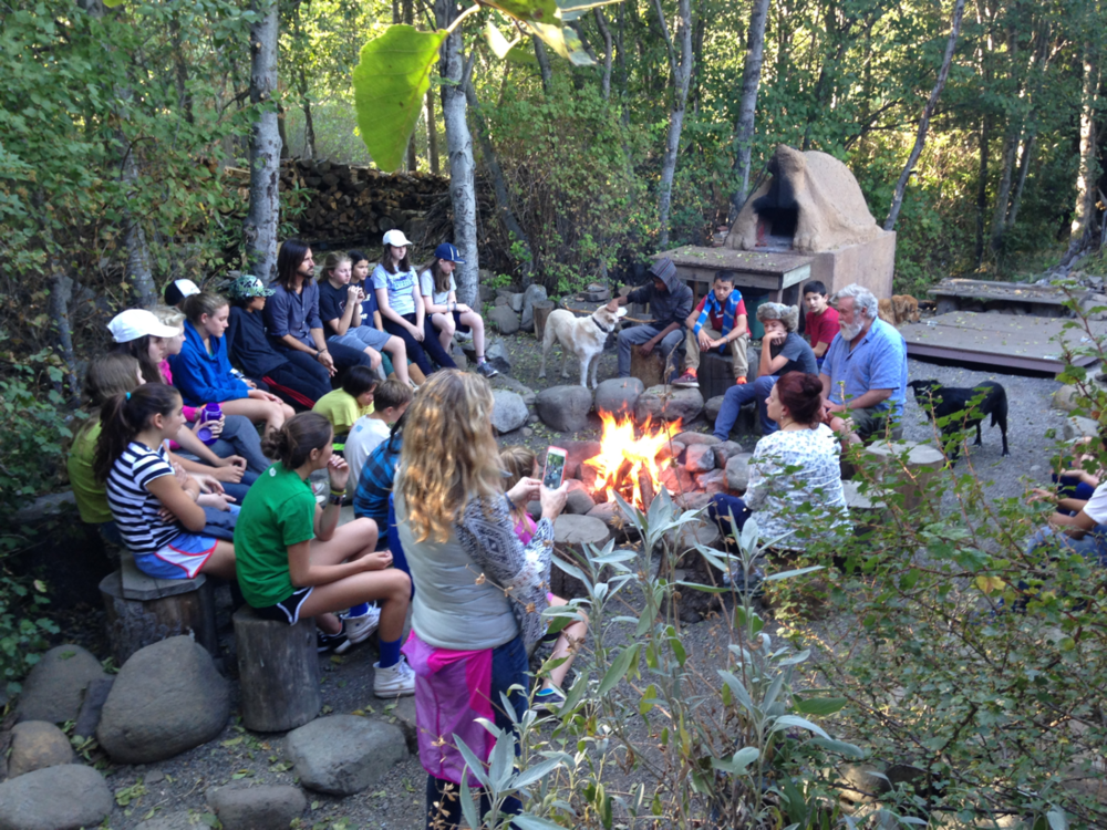 The 8th Graders. Opening circle at Outdoor Education camp. Day 1 of 5, immersed in wilderness.