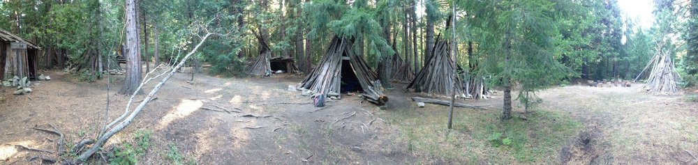 The students homes for the week.  Bark teepees.