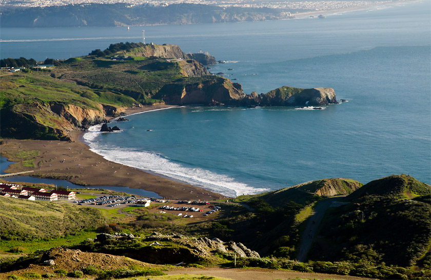 The beautiful Marin Headlands.  The Point Bonita YMCA with Rodeo Beach and the Naturebridge Campus in the foreground.