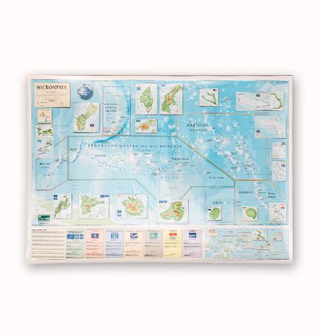 Micronesia Map Pacific Centered World Map Combo Hawaiian And