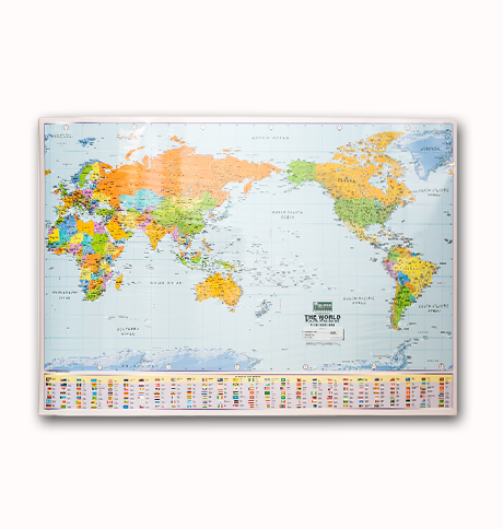 Mounted World Map.Pacific Centered World Map Mounted On Spring Roller Hawaiian And