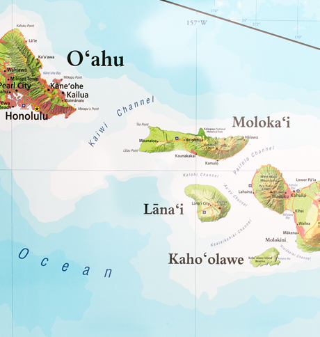 Map Of Hawaiʻi Combined With Pacific Centered World Map Hawaiian