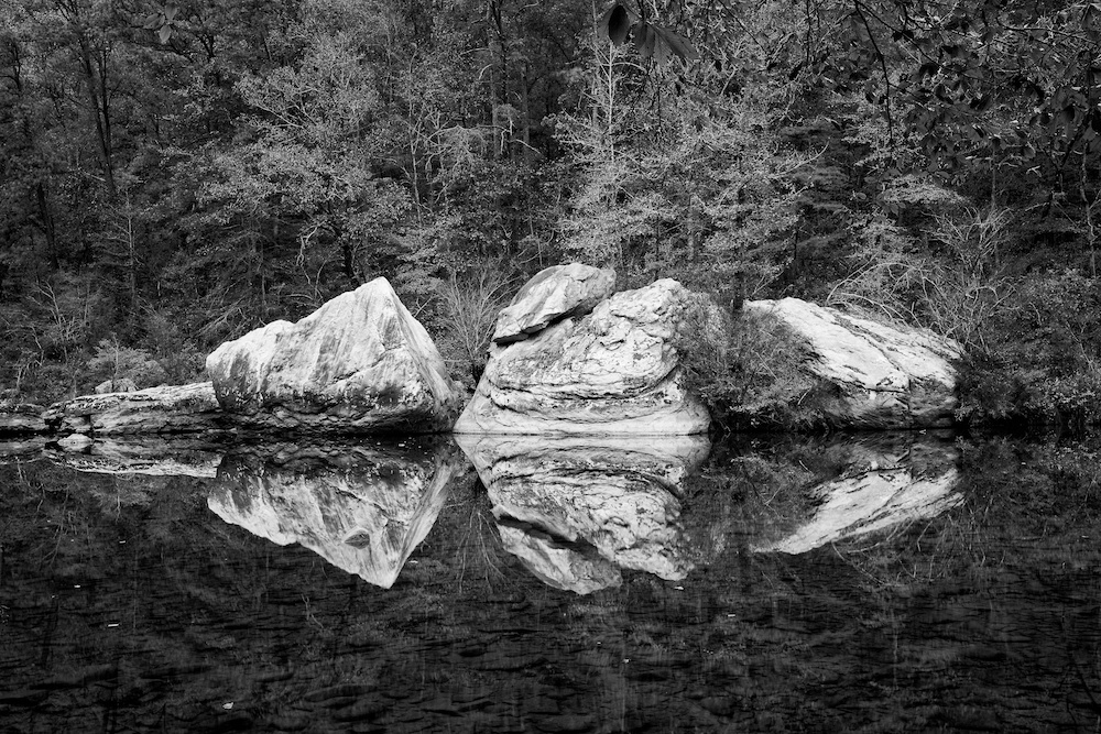Boulders and Reflections in the slow water of a river