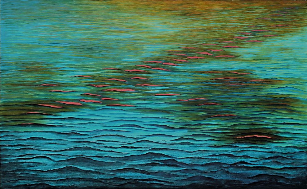 Sunset+Waves%2c+2015%2c+acrylic+on+cut+canvas+with+red+background%2c+48x72+in.jpg