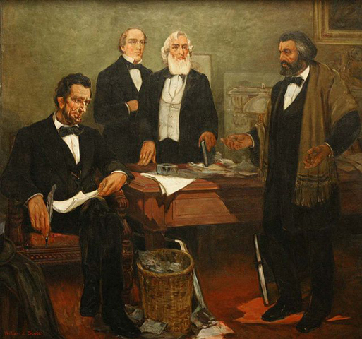 Frederick Douglass Appealing to President Lincoln by William Edouard Scott