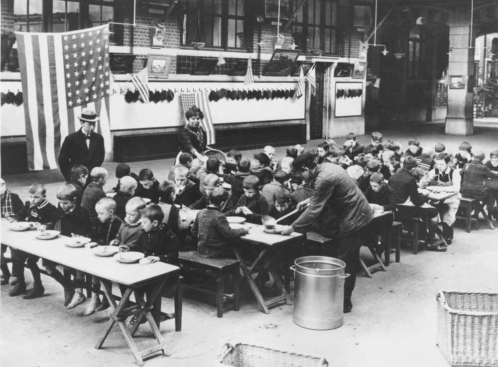 Kids being fed during the Great Depression