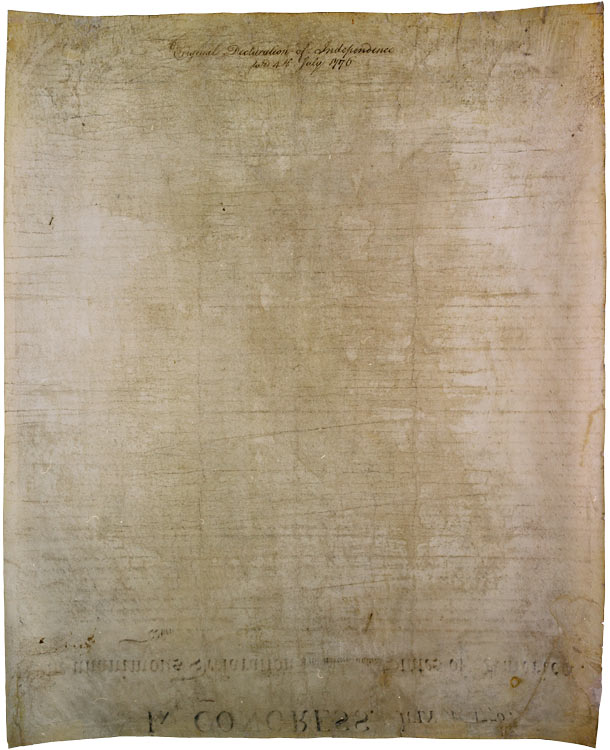 The back of the Declaration of Independence