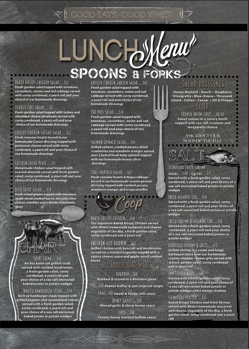 Ocala Lunch Menu Back
