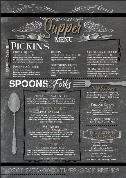 Ocala Supper Menu Front