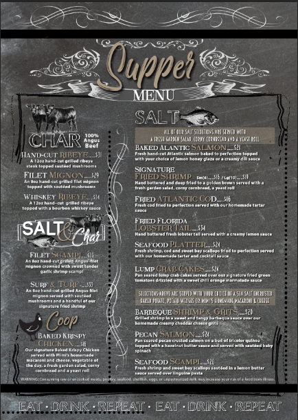 Ocala Supper Menu Back