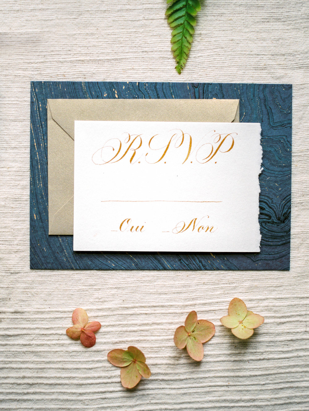 Blue and Gold Wedding Invitation - www.jleephotos.com