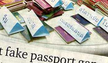 Newspaper article - counterfeit and altered passports - Thailand