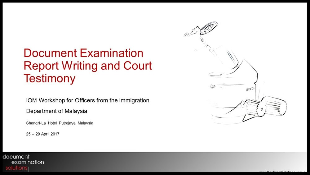 Document Examination Report Writing and Court Testimony