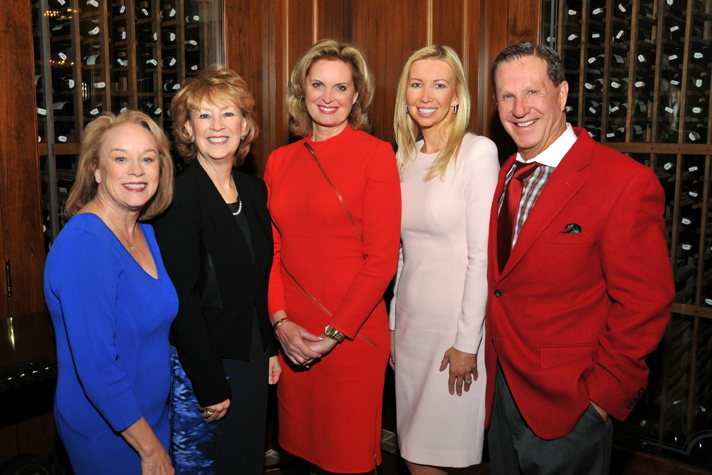 "Wanda Garner (event co-chair), Vivian Hardage (event co-chair), Ann Romney (keynote speaker), Geniya Derzhavina, ""Papa"" Doug Manchester (event Title sponsor). Photo courtesy of Vincent Andrunas."