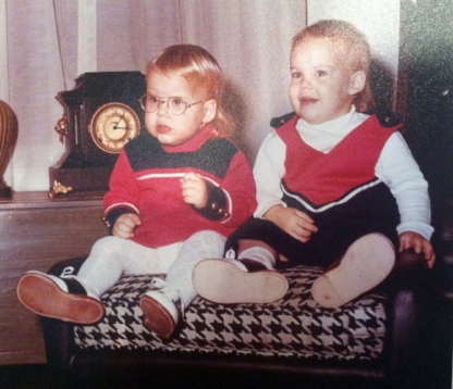 "Kim (left) with her twin brother, Doug. ""I had glasses when I was just six months old"" she told us."