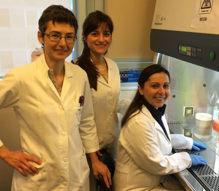 From Left: M. Vittoria Schiaffino, MD, PhD, Dr. Annarosaria De Vito, and Dr. Angela Palmigiano