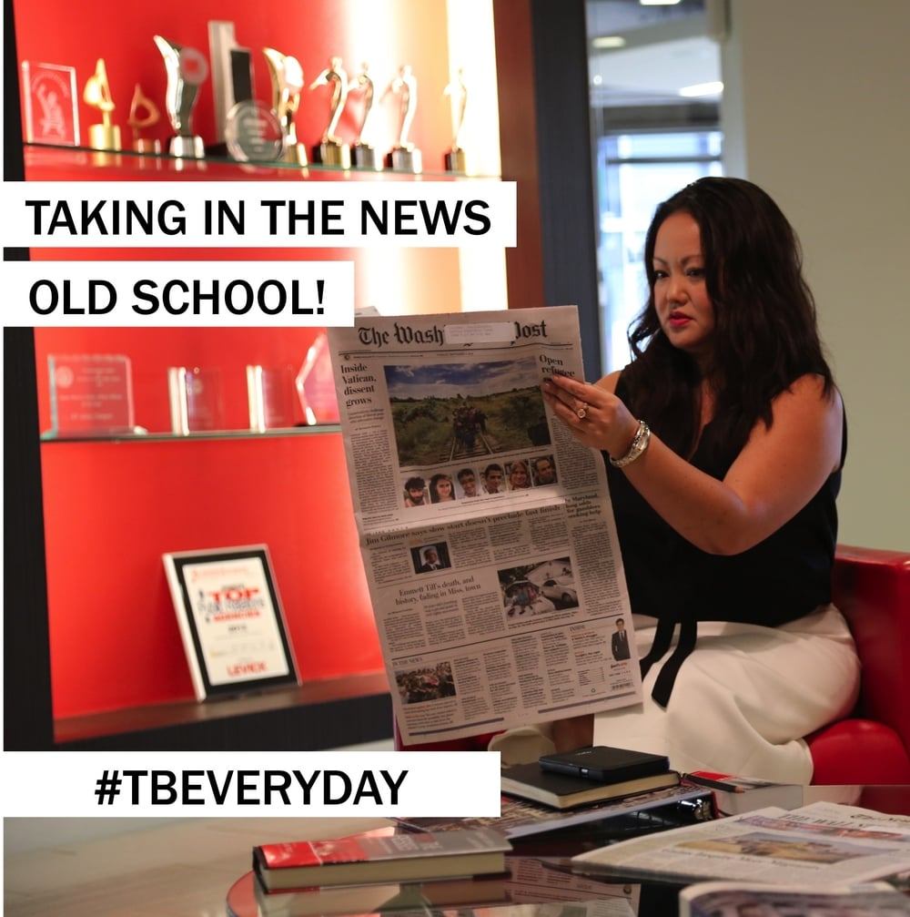 9AM: Welcome to my day! While I check Twitter for headlines, I still like to check out the paper version. (Hint: I'm looking at the print quality and location of ad placements!) ~@szoldak #TBEveryday