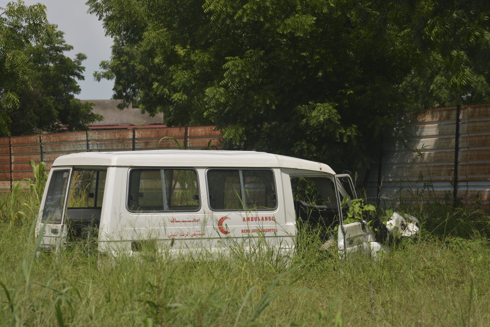 Violence against medical facilities is common in South Sudan and exacerbates the problem of malnutrition. Here, a Renk Civil Hospital ambulance sits stripped and abandoned next to the State Ministry of Health building in Malakal.James Sprankle/For The Washington Post