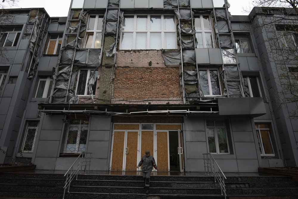 The facade of the Avdiivka Coke and Chemical Plant has been heavily damaged during the war. The plant is considered one of the most important in all of Ukraine.