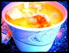 """""""The Best Seafood Chowder"""" : clams, shrimp, scallops, haddock and lobster."""